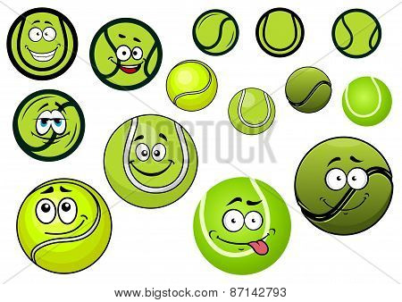 Green tennis balls mascots cartoon characters