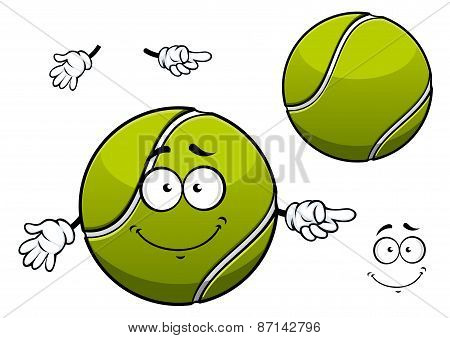 Cheerful green tennis ball cartoon character