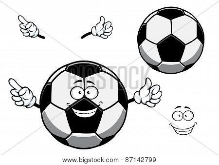 Football or soccer ball sporting mascot cartoon character