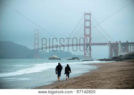 Golden Gate Bridge in San Francisco at Baker Beach.