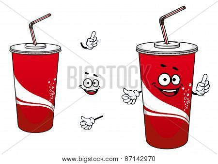 Cola or soda paper cup cartoon character