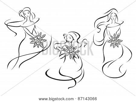 Silhouettes of brides with flowers