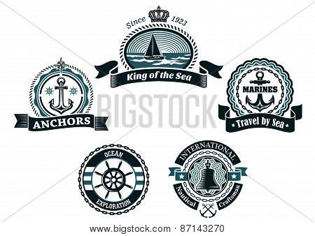 Retro blue nautical labels and badges