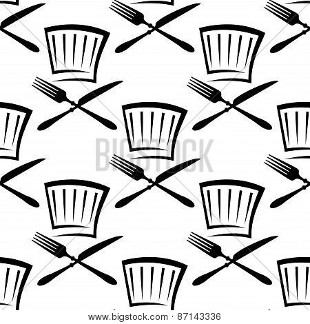 Chef hat with cutlery seamless pattern