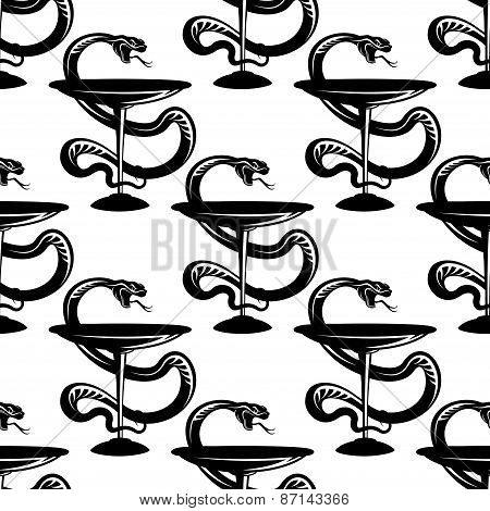 Pharmacy bowls with snakes seamless pattern