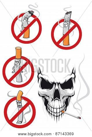 Cartooned smoking kills and no smoking concepts