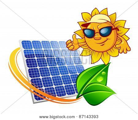 Cartoon sun in front of solar panel