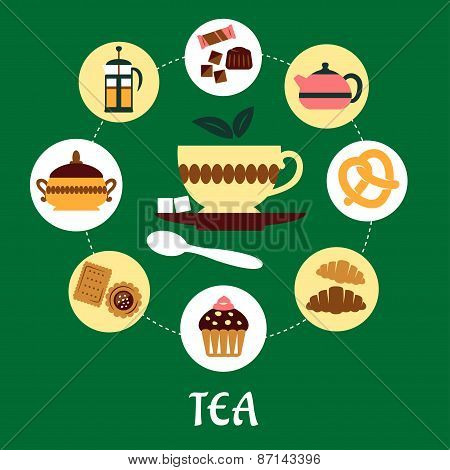 Tea flat infographic with dessert icons