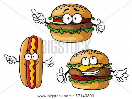 Appetizing hamburgers and hot dog cartoon characters