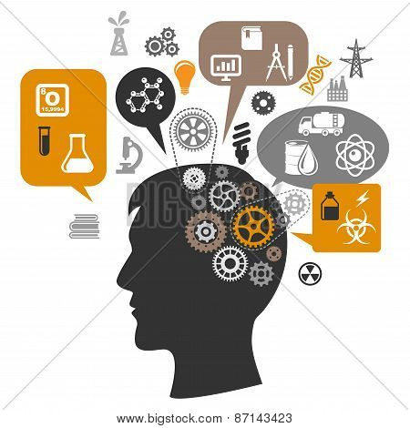 Scientist head with gears and thought bubbles