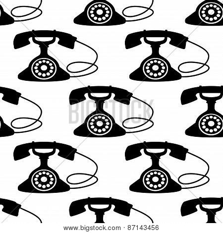 Seamless pattern with silhouettes of retro telephone