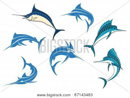 Blue marlins or swordfishes logo or emblems