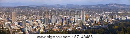 Portland Oregon City Panorama At Sunset.