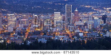 Portland Oregon City Lights And Buildings Panorama.