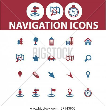 navigation, route, map isolated icons, signs, illustrations concept website internet design set, vector