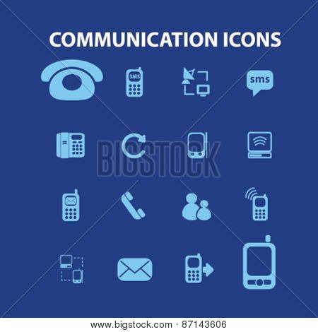 communication, technology isolated icons, signs, illustrations concept website internet design set, vector