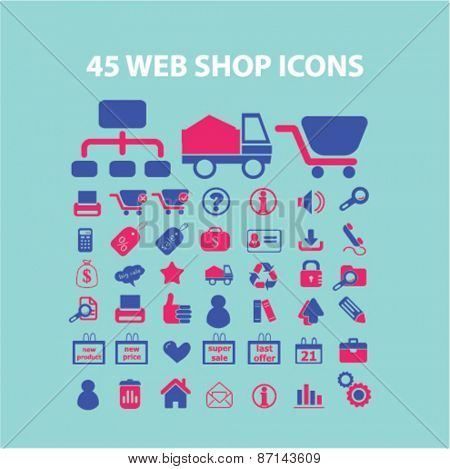 45 web shop, internet marketing, retail isolated icons, signs, illustrations concept website internet design set, vector