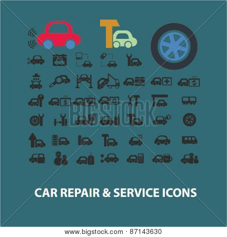 car repair, auto station services isolated icons, signs, illustrations concept website internet design set, vector