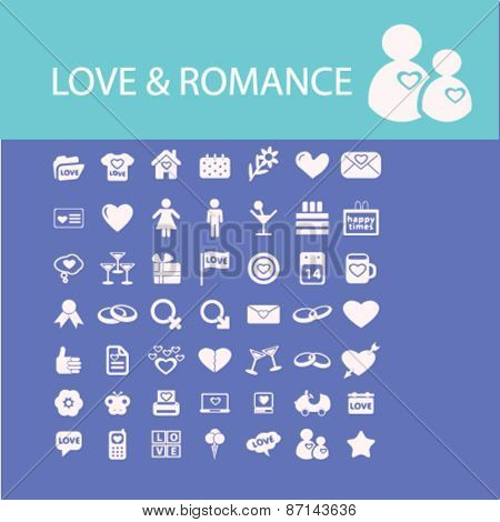 love, romance, wedding isolated icons, signs, illustrations concept website internet design set, vector