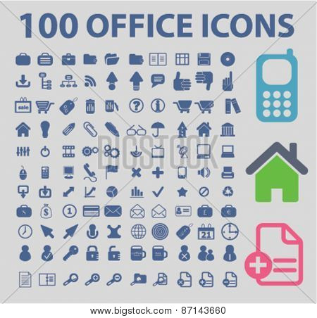 100 office, business, web isolated icons, signs, illustrations concept website internet design set, vector