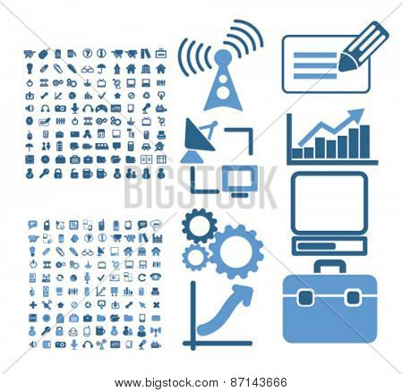 technology, business, information isolated icons, signs, illustrations concept website internet design set, vector