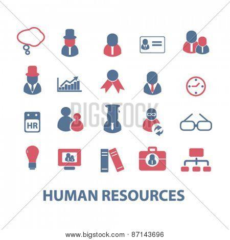 human resources, management, organization icons, signs, illustrations design concept set. vector