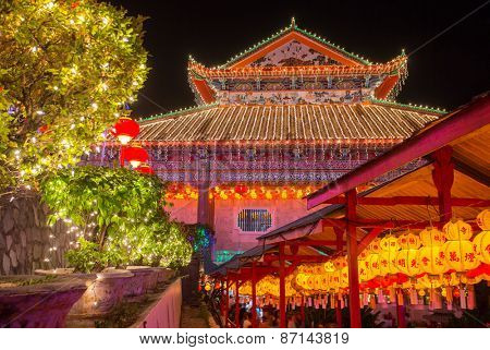 Beautifully lit-up Kek Lok Si temple in Penang during the Chinese New Year.
