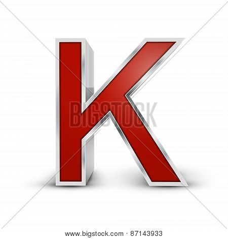 3D Red Metallic Letter K
