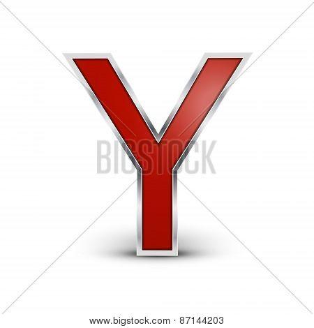 3D Red Metallic Letter Y