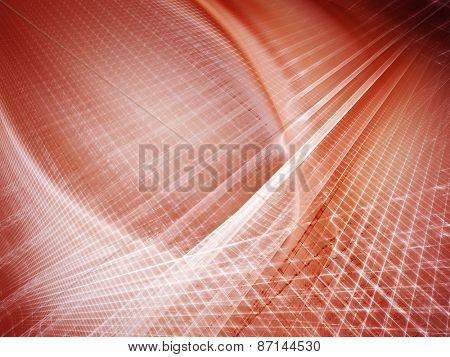 Abstract red background. Glowing lines and 3d grids intersection.