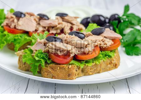 Healthy Sandwiches With Tuna Fish On The White Plate Closeup