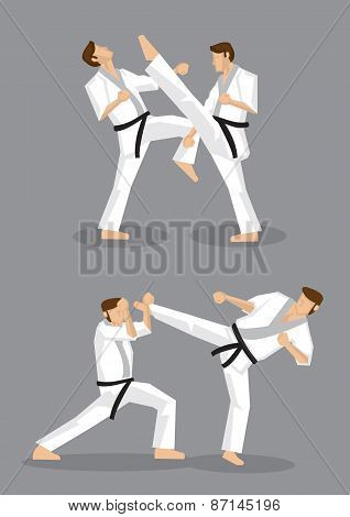 Karate Kick Vector Illustration
