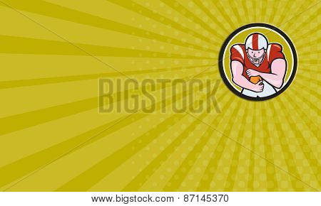 Business Card American Football Running Back Circle Cartoon