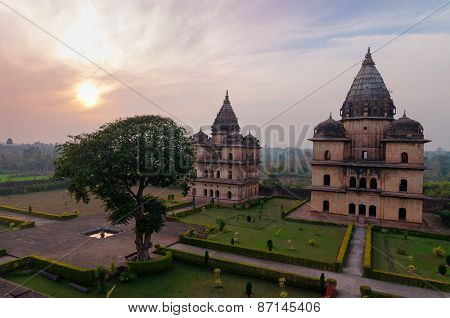 Group Of Cenotaphs In Orchha At Sunset