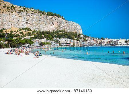 Mondello white sand beach in Palermo, Sicily. Italy.