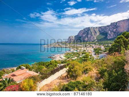 Panoramic view on Mondello bay in Palermo, Sicily. Italy.