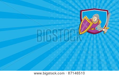 Business Card Medieval Knight Shield Sword Cartoon