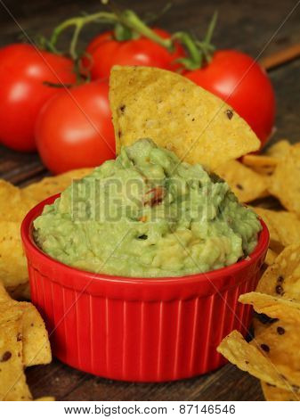 Guacamole dip with corn chips