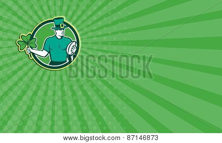 Business Card Irish Rugby Player Holding Shamrock