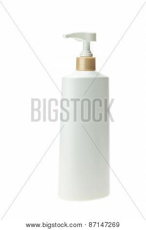 White Plastic Bottle Isolated On White