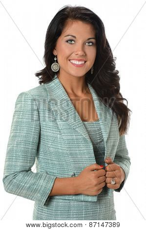 Beautiful young businesswoman smiling isolated over white background
