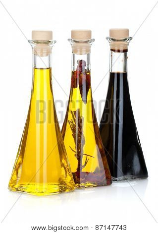 Olive oil and vinegar bottles. Isolated on white background