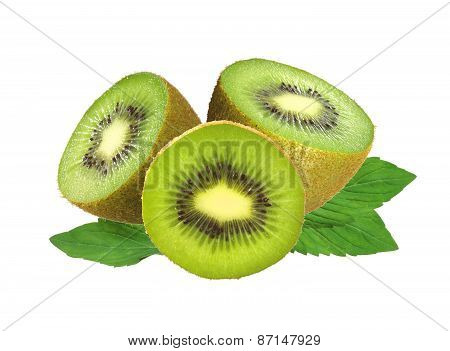 Fresh Kiwi Isolated On White