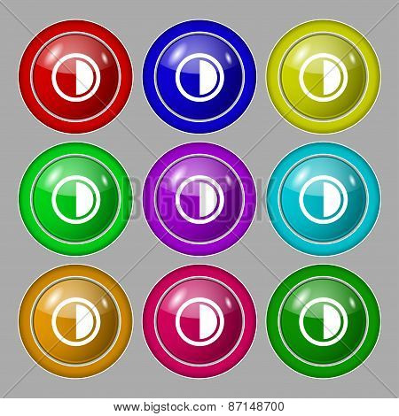 Contrast Icon Sign. Symbol On Nine Round Colourful Buttons. Vector