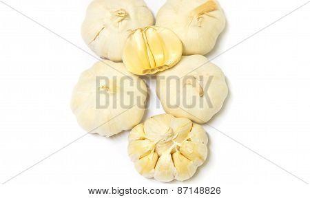 Garlics On White Background.