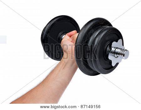 Hand holding black dumbbell