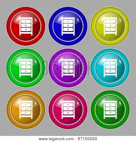 Nightstand Icon Sign. Symbol On Nine Round Colourful Buttons. Vector