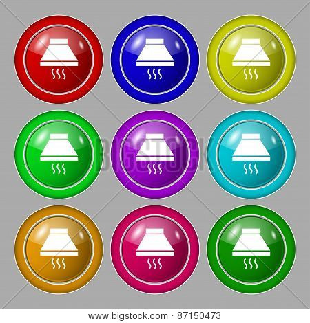 Kitchen Hood Icon Sign. Symbol On Nine Round Colourful Buttons. Vector