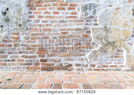 Aged Street Wall And Floor Background, Texture