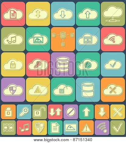 Cloud Storage, Data analysis, database, network technology settings icons flat set isolated on multi